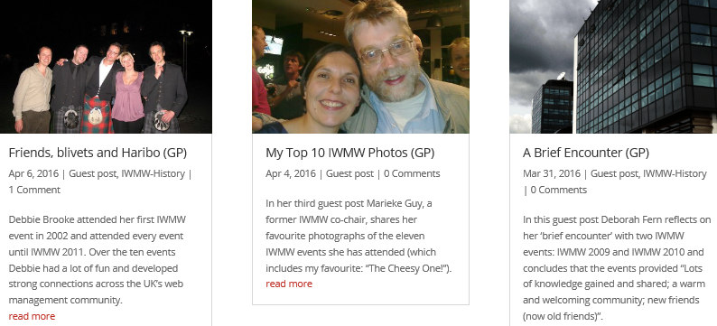 Do You Have Memories Of IWMW Events?