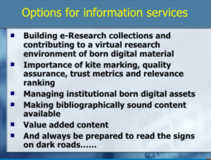 Derek Law's list of options for information services