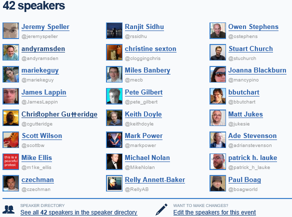 Speaker list (partial) for IWMW 2010