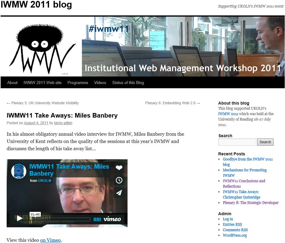 IWMW 2011 blog
