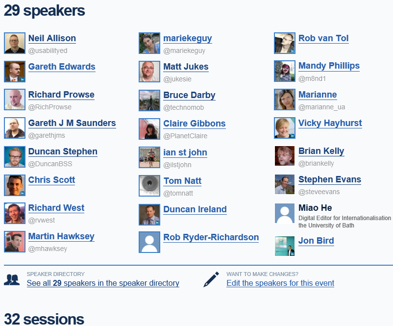 How Many Speakers Have There Been At IWMW Events?