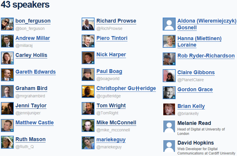 Overview of Speakers at IWMW Events | IWMW: Institutional