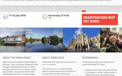 IWMW 2018 to be held at the University of York on 11-13 July 2018