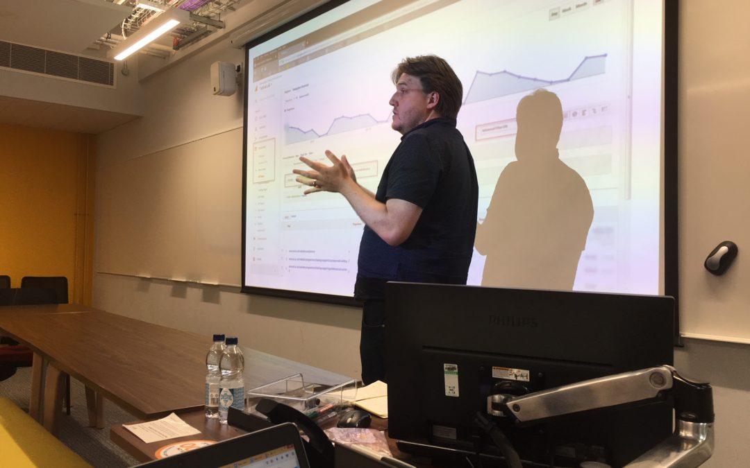 Duncan MacGruer presenting at IWMW 2018