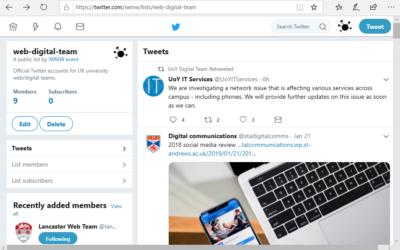 Web/Digital Team Twitter Accounts