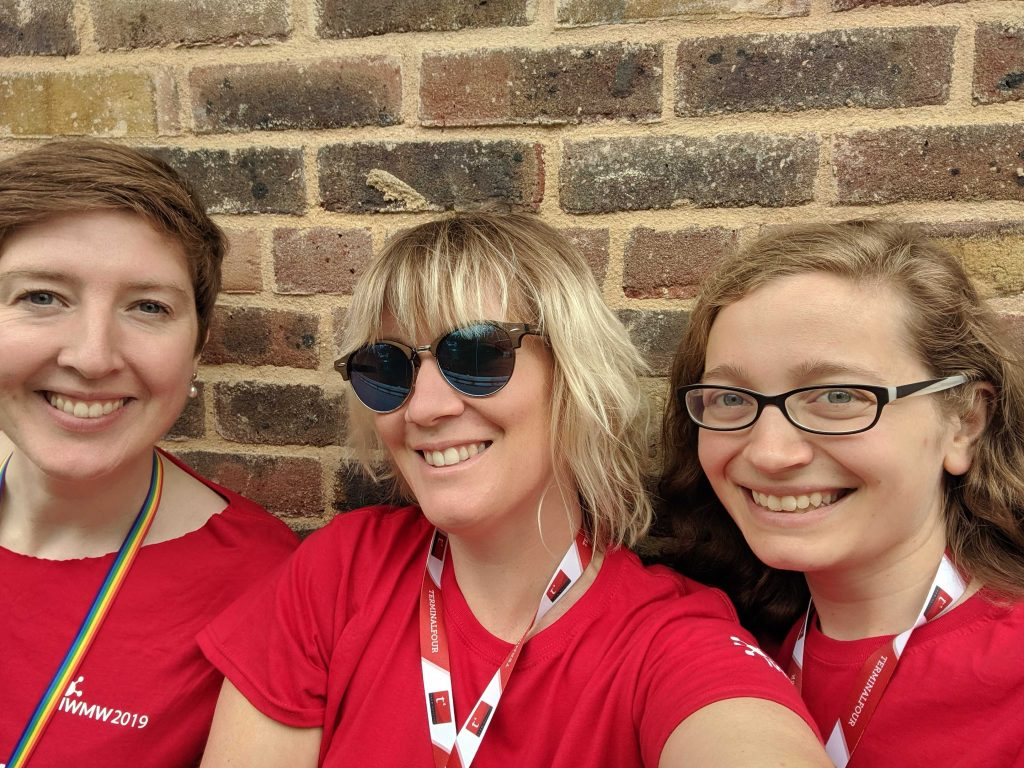 Kat Husbands, Gemma Wilks and Lauren Tormey ready to start day 1 of IWMW 2019